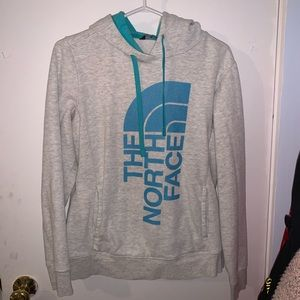 White and blue north face women's hoodie